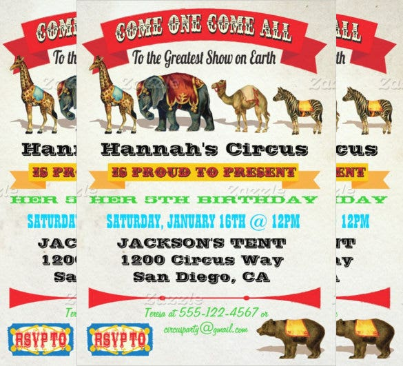 animals feature matte finish carnival birthday invitation