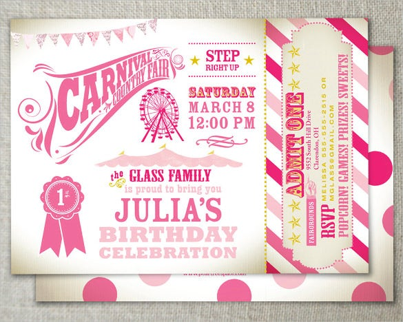 Pink Country Fair Carnival Birthday Invitation