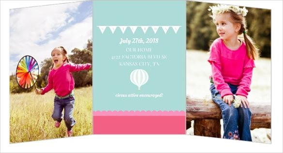 three folded pink and blue kids carnival birthday invitation