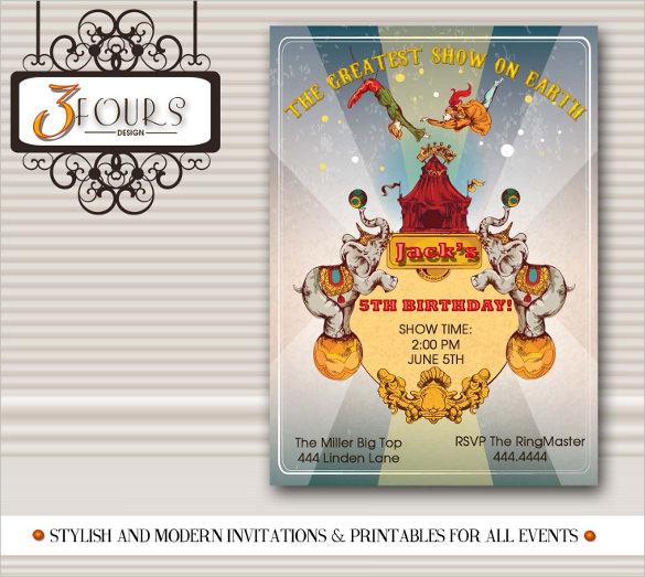 silver vintage carnival birthday invitation template