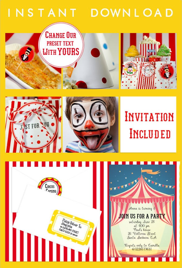handmade full printable collection carnival birthday invitation customizable at home