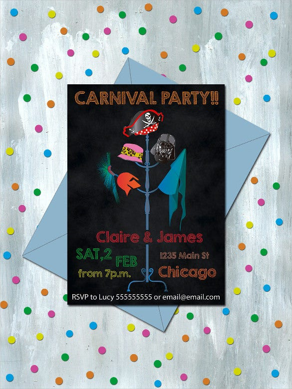 costume themed carival birthday invitation party