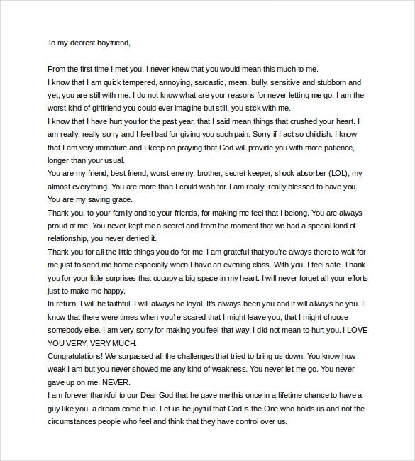 Superb Love Letter To Boyfriend On Anniversary Word Format Download