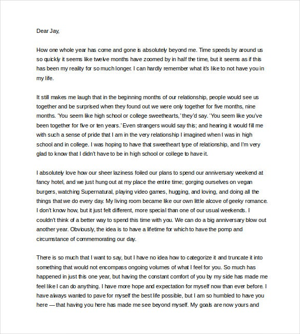 Amazing Sample Love Letter To Boyfriend On First Anniversary