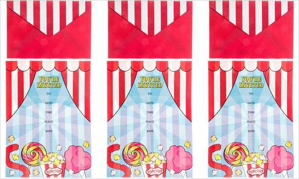 red white color carnival birthday invitation