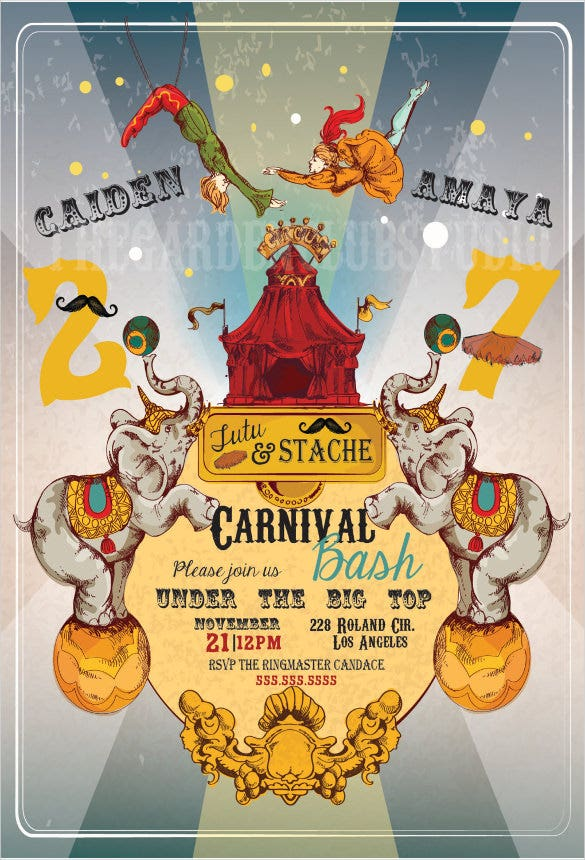 Personalized Custom Carnival Birthday Invitation Digital File