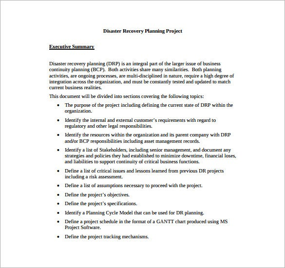 Disaster Recovery Plan Templates Free Sample Example Format - Project recovery plan template