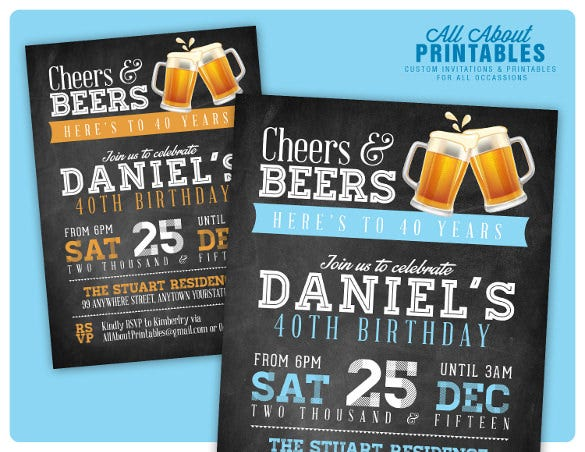 40th birthday invitations – 14 + free psd, vector eps, ai, format, Birthday invitations