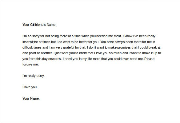 Love Letter To Girlfriend Saying Sorry Word Download