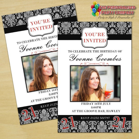Personalised 40th Birthday Party Photo Invitations