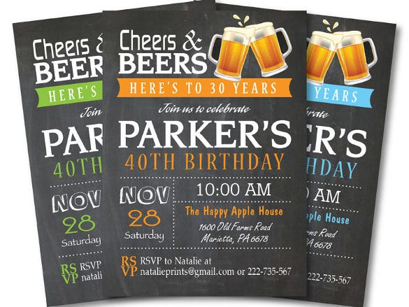 40th Birthday Cheers And Beers Invitation
