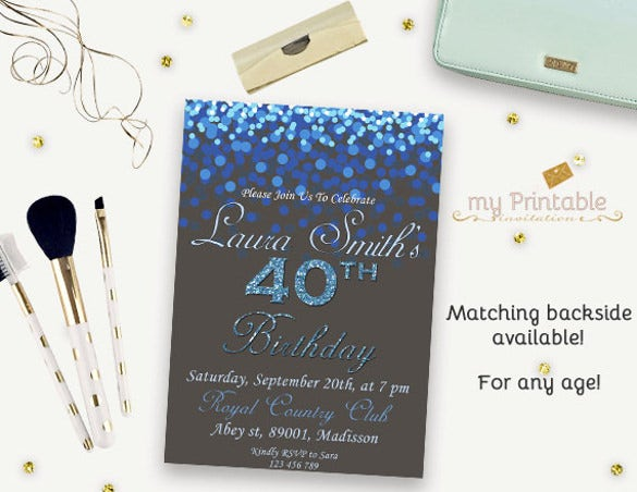 40th birthday invitation digital printable glitter birthday invite for adults