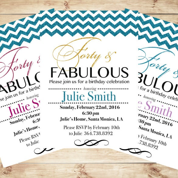 personalized 40th birthday invitations