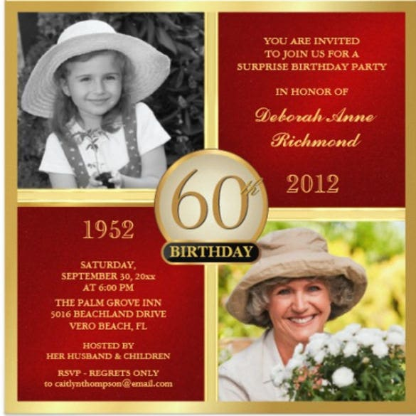 red gold birthday invitations then now 2 photos