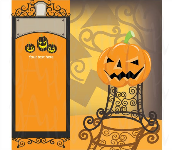 orange colour halloween birthday invitation template