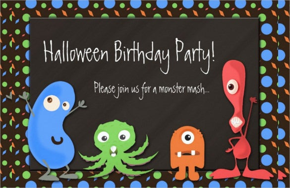 cute coloured monster halloween birthday party invitation