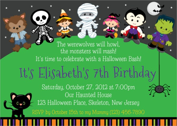 trick or treat halloween birthday invitation for kids
