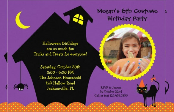 haunted house halloween birthday invitation with custom photograph