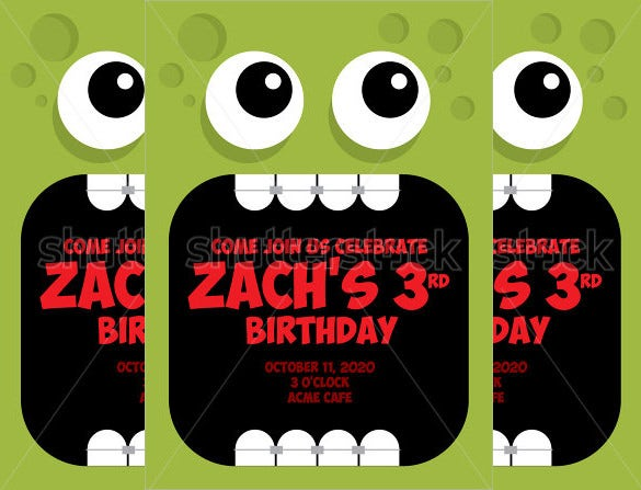 green monster halloween birthday invitation