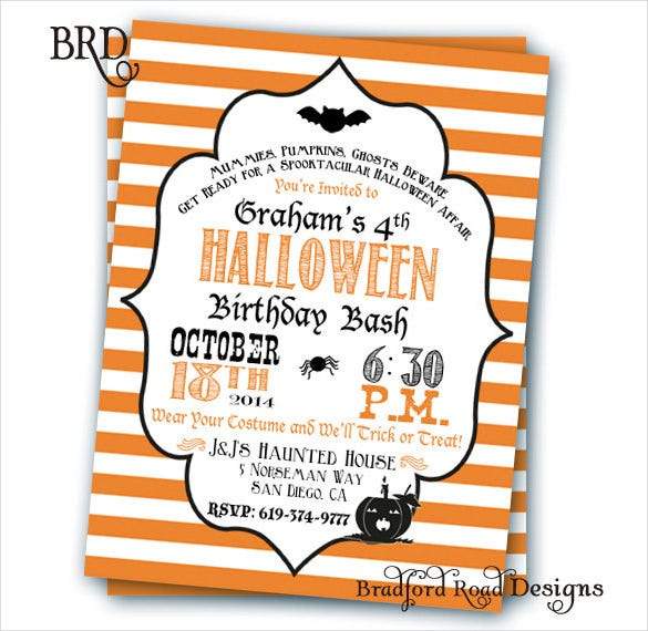 customizable orange striped halloween birthday invitation