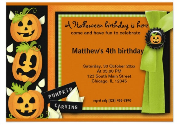 orange colour paper halloween birthday invitation