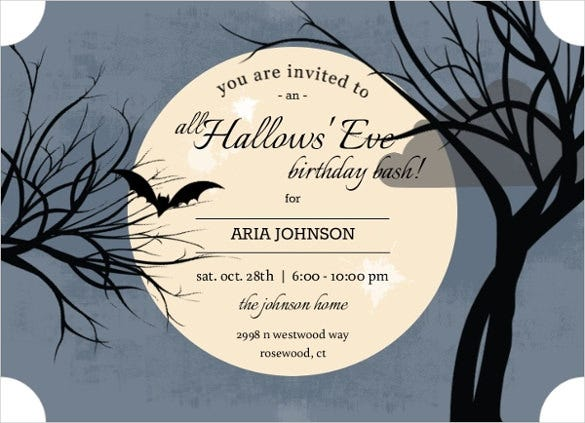 dark sky coloured full moon halloween birthday invitation