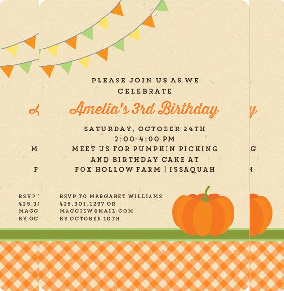 pumpkin gingham halloween birthday invitation for all age