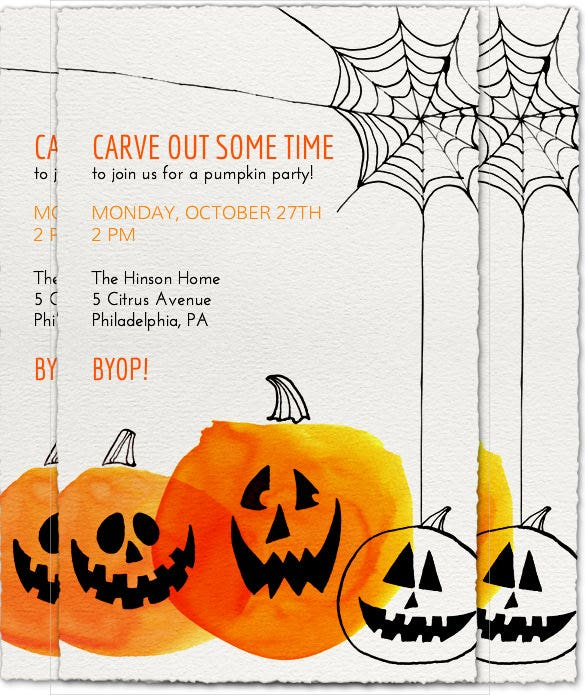gray colour web and pumpkin halloween birthday invitation