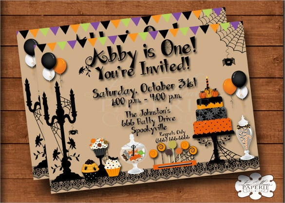 beautiful elegant halloween birthday invitation digital file