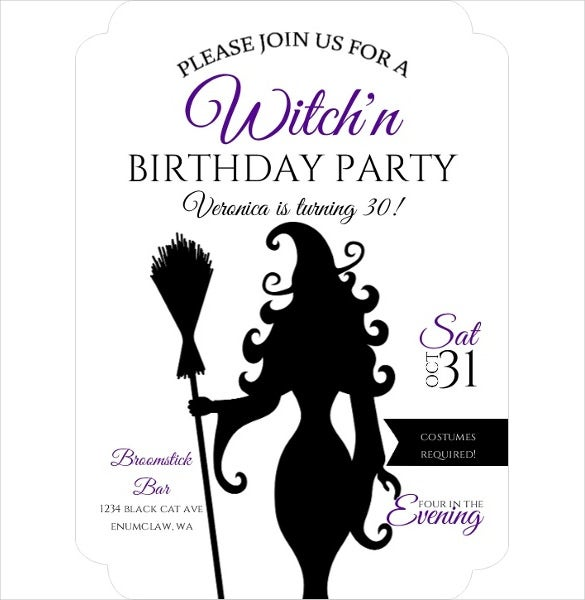 witch themed halloween birthday invitation for girls