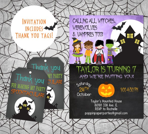 web costume themed halloween birthday invitation