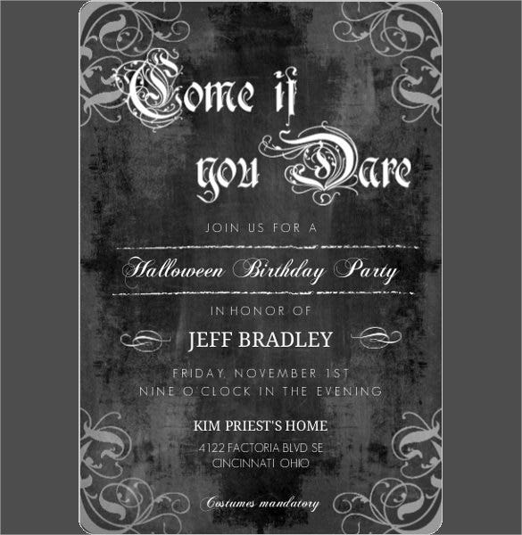 Chalkboard Gothic Style Halloween Birthday Invitation Design
