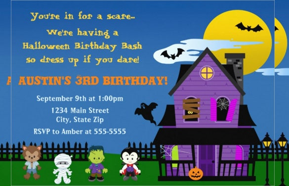 colourful animated kids halloween birthday invitation