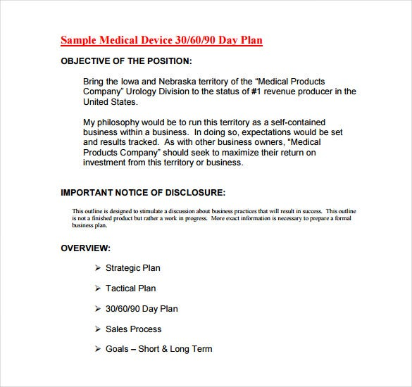 sample medical device 30 60 90 day plan pdf free download