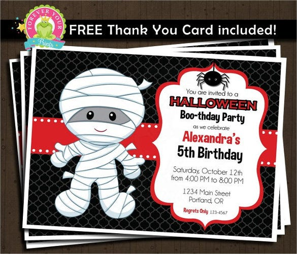 printable mummy halloween birthday invitation