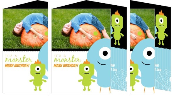 three folded monster halloween birthday invitation with custom photo