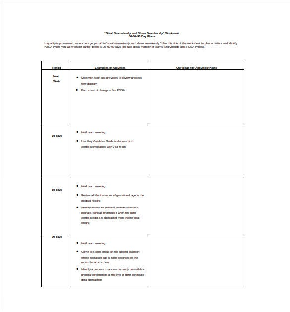 12 30 60 90 day plan templates free sample example for First 90 day plan template