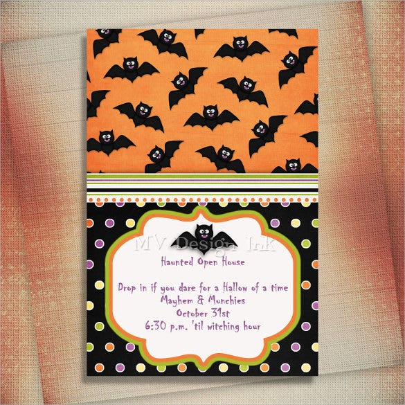 spooky bat design halloween birthday invitation