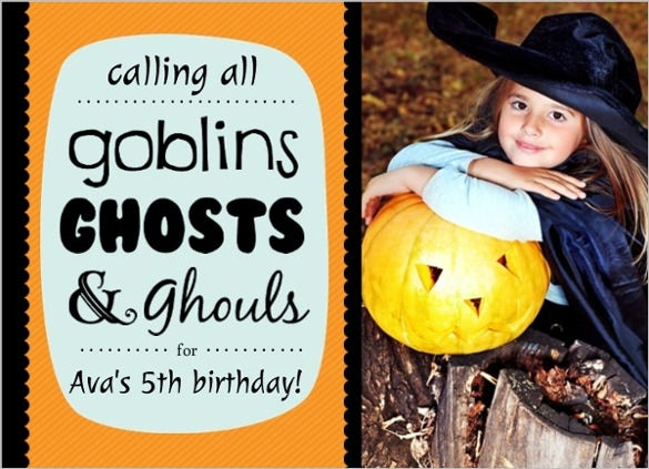 orange blue and black halloween birthday invitation for girls with custom photograph