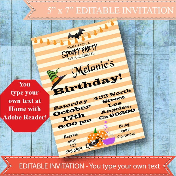editable party based halloween birthday invitation instant download