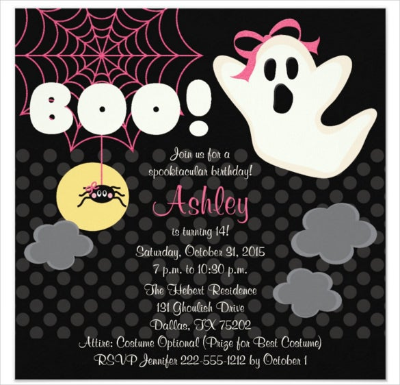 pink colour ghost halloween birthday invitation