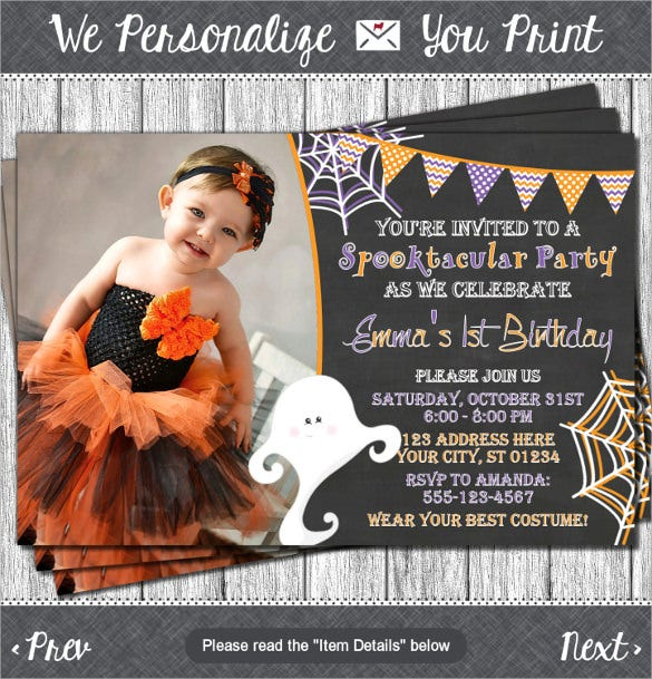 Chalkboard Style Halloween Birthday Invitation With Custom Photo