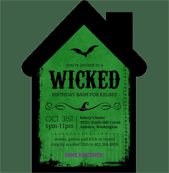 green colour witch house shaped halloween birthday invitation