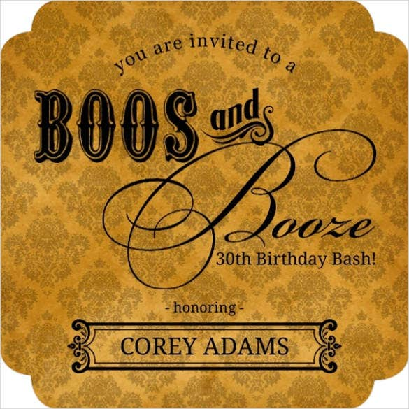 elegant booze orange halloween birthday party invitation