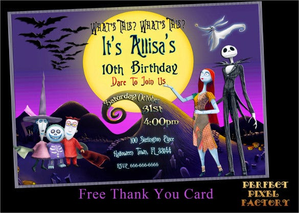 ghost designed halloween birthday invitation
