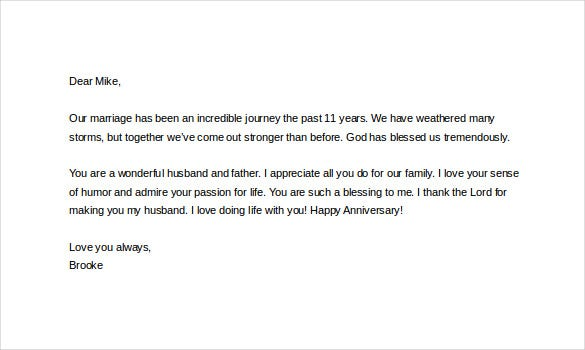 sweet anniversary letter to husband 11 letter templates to my husband doc free 787