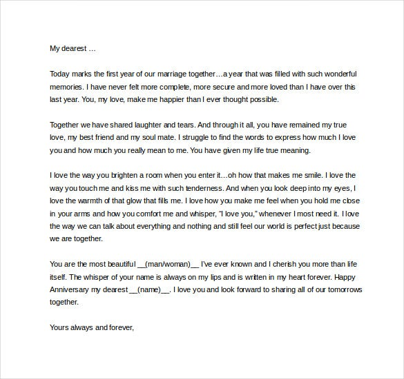 9 love letter templates to my wife free sample example format free love letter to my wife on our first anniversary spiritdancerdesigns Images