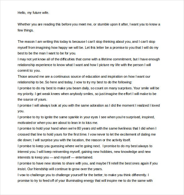 Elitedaily.com This Template Could Be Used For Your Future Wife, To Let Her  Know How Happy You Will Be Together. This Letter Is Promise On The  Husbandu0027s ...