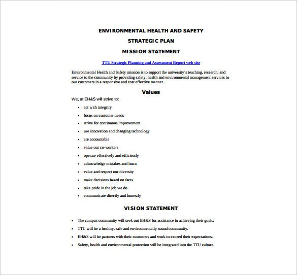 Health And Safety Plan Templates  Free Sample Example