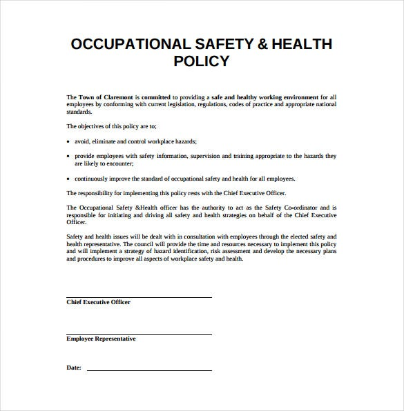 Sample Safety Plan Sample Safety Plan Template Free Samples